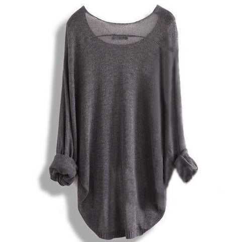 Loose round neck long sleeve knit sweater