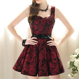 FASHION ROSE WAIST BIG SKIRT SLEEVELESS DRESS