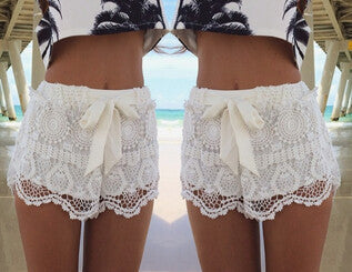 Black Side Button Patchwork Shorts