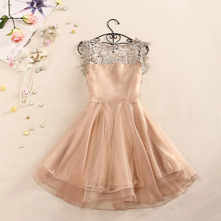 Sweet And Elegant Crochet Butterfly Organza Dress
