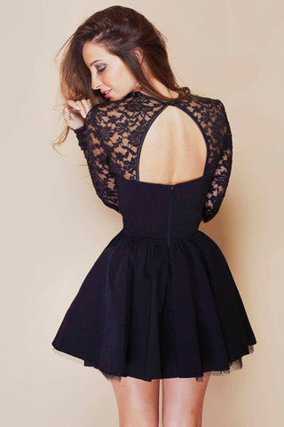Fashion Sexy backless black dress