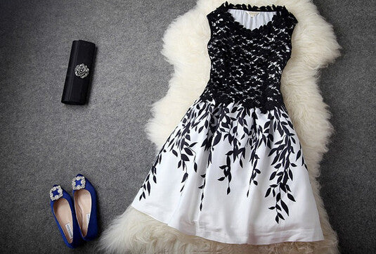 Fashion Leaf Print Dress
