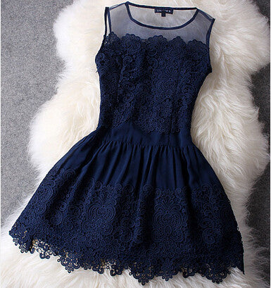 Fashion V-Neck Long-Sleeved Lace Dress