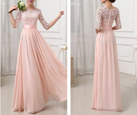 Fashion long-sleeved pink dress