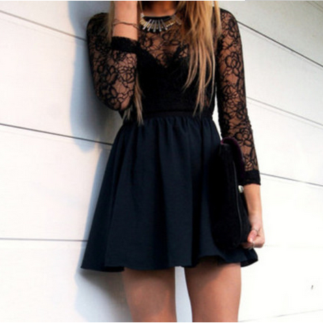Round Neck Bag Hip Lace Dress
