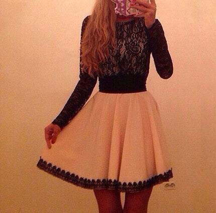 Slim Lace Long Sleeve Bag Hip Dress