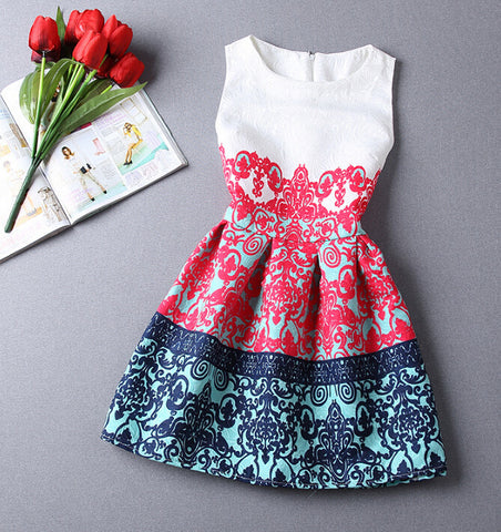 Printing Sling Flowers High Waist Dress