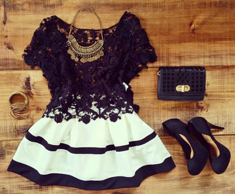Fashion lace hanging neck white dress