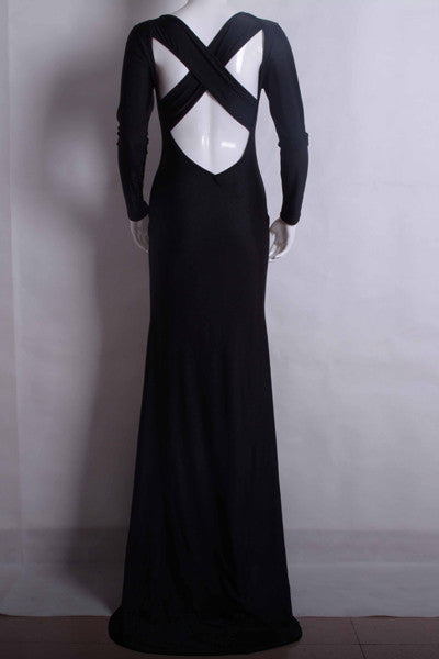 Sexy Black Cross Back Mermaid Design Long Sleeve Dress