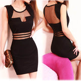 Sexy Gauze Splice Black Sleeveless Summer Dress