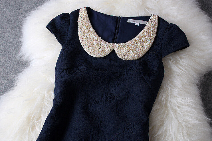 Nice Dark Blue Beading Rhinestones Gorgeous Dress