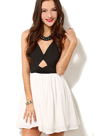 Black And White Crossback Bowknot Low Cut Tank Dress