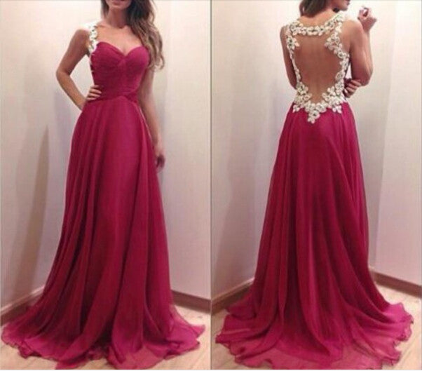 CHARMING BURGUNDY SWEETHEART FLOOR LENGTH PROM DRESS 2015