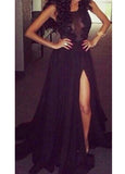 Elegant Black Lace And Chiffon Long Dress