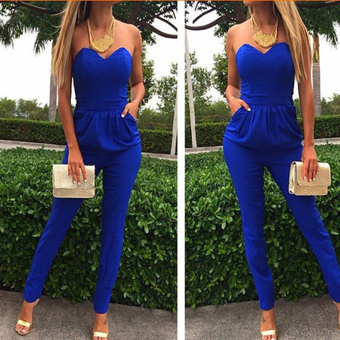 DESIGN SLING SLEEVELESS CHIFFON ONE-PIECE PANTS