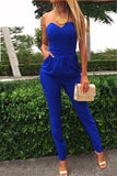 Cheap Sexy Strapless Off The Shoulder Sleeveless Pockets Design Solid Blue Cotton Blend One-Piece Skinny Jumpsuit