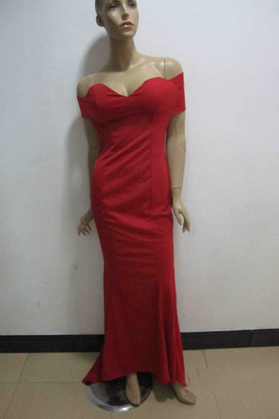 Gorgeous Off Shoulder Red Floor Length Dress
