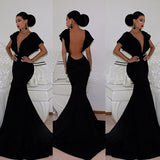 Classy V Neck Backless Floor Length Mermaid Dress