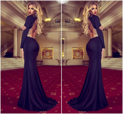 Off Shoulder V Back Long Sleeve Dress