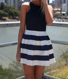 Round Neck Stripe Mini Dress