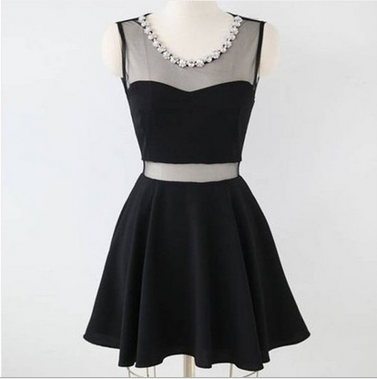 ROUND NECK BLACK SLEEVELESS DRESS