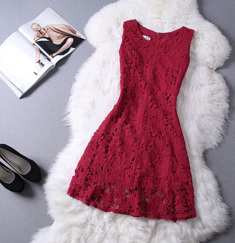The New Round Neck Lace Sleeveless Dress