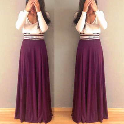 Women Fashion High Waist Solid Color Skirt