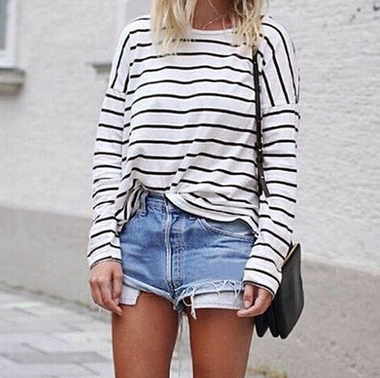 Cute STRIPES ROUND NECK T-SHIRT