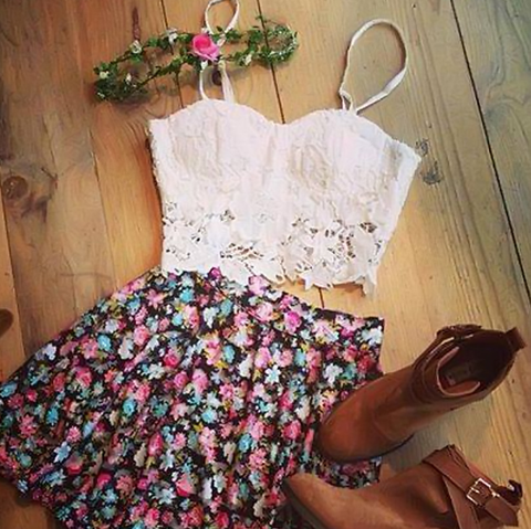 Fashion printed sleeveless two-piece dress