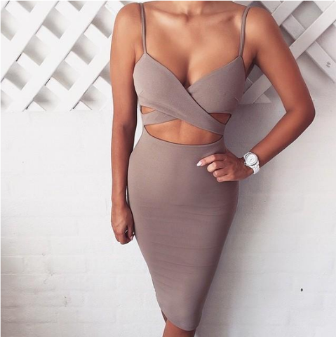 Sexy harness halter dress
