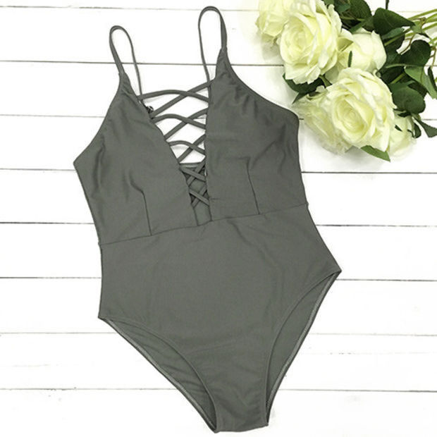 Fashion pure color one-piece swimsuit swimwear