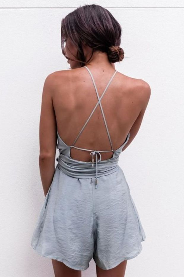 Women Casual Backless Halter Cross Romper Jumpsuit