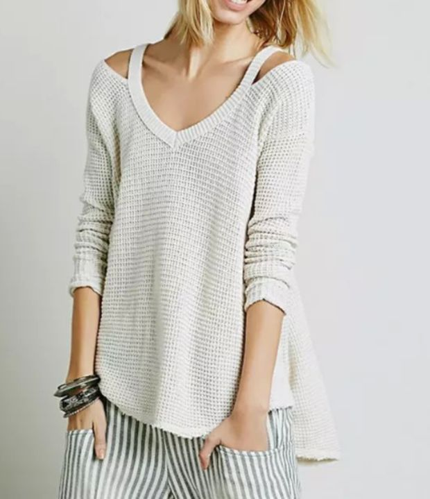 Moonshine Ribbed V Neck Long sleeves Loose Waffle Knit Flared Sweater