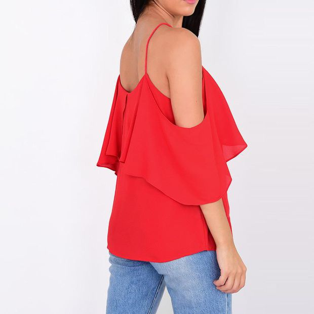Sleeveless Chiffon Spaghetti Strap Double-layered Tops