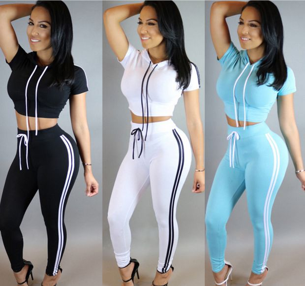 Summer hooded sportswear suit women casual two-piece