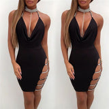 New Deep V Neck Halter Sequin Sexy Club Bodycon Dress Summer Women Backless Hollow Out Party Wear Short Dress