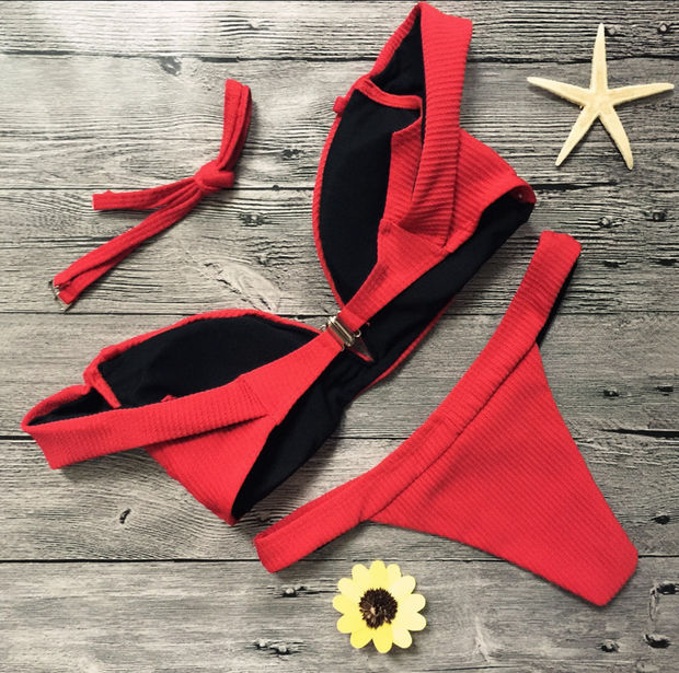 Sexy pure red strapless cute two piece bikini lotus off shoulder swimsuit