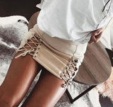 Sexy fashion Suede side lace up type hollow skirt