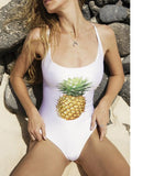 Fashion and fashion show back pure color pineapple print swimsuit sexy bikini