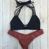 Hollow Strappy Sexy Halter Bikini Set Swimsuit Swimwear
