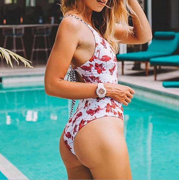 Sexy White Bikini Backless Red One Piece Bikini Swimwear