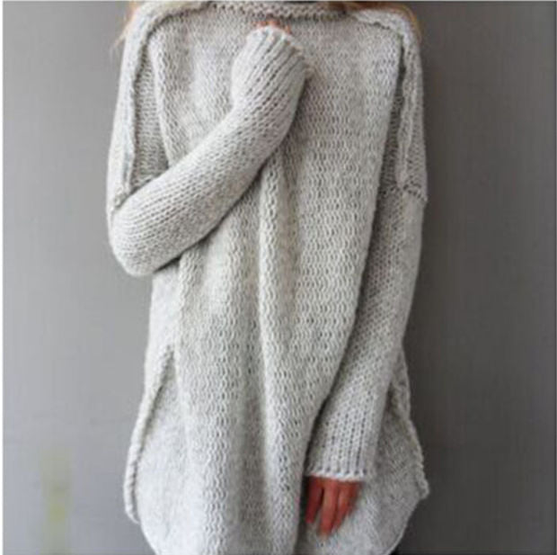 Women Fashion Autumn and Winter Casual Gray Irregular Pullover Turtleneck Sweater Nude pink
