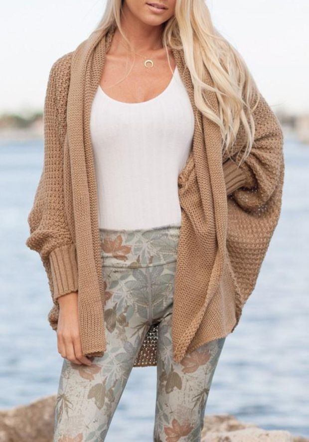 Khaki Irregular Turndown Collar Long Sleeve Casual Cardigan Sweater