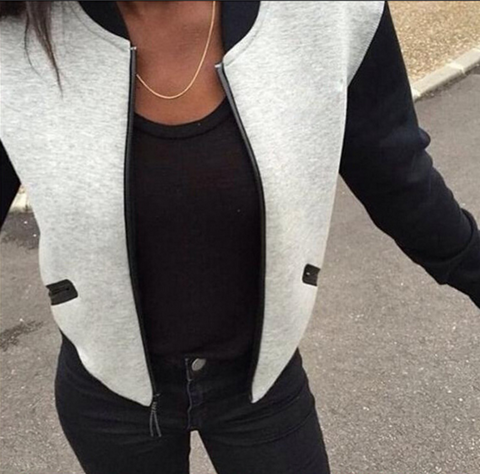 Loose long-sleeved zipper jacket