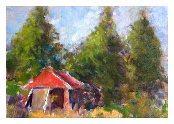Red Shed with Trees by Janet Bonneau