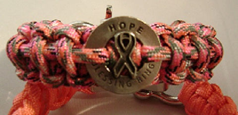 Breast Cancer Awareness Paracord Survival Bracelet W/Stainless Steel Adjustable Shackle (Pink Camo)
