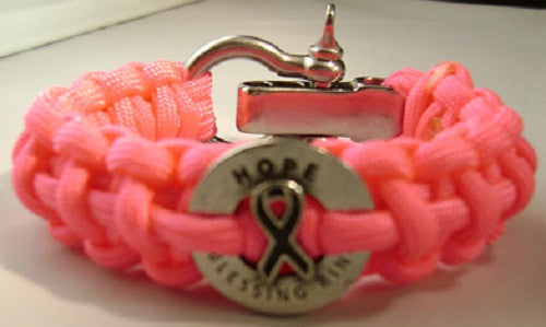 Breast Cancer Awareness Paracord Survival Bracelet W/Stainless Steel Shackle (Neon Pink)