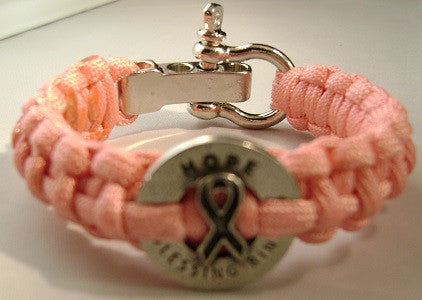 Breast Cancer Awareness Paracord Survival Bracelet W/Stainless Steel Adjustable Shackle (Rose Pink)