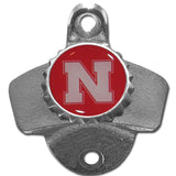 University of Nebraska Corn Huskers Wall Mounted Bottle Opener With License Plate Cap Collection Box