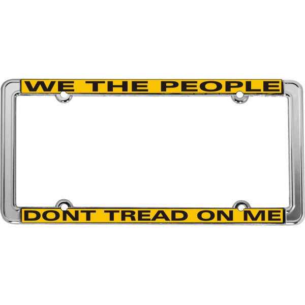 """We The People Don't Tread On Me"" Gadsen Flag Thin Rim Chromed Steel License Plate Frame (LF-02)"